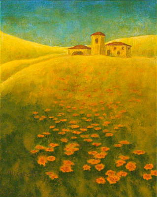 Italian Mediterranean Art Painting - Tuscan Gold 2 by Pamela Allegretto