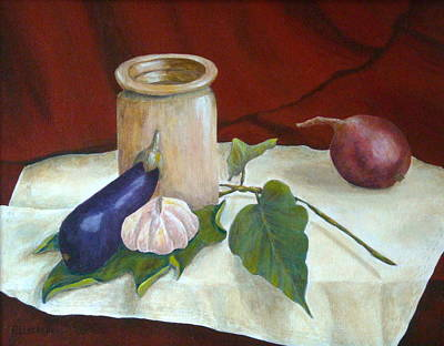 Crocks Painting - Tuscan Table by Pamela Allegretto