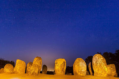 Megalith Photograph - Twilight At Almendres Cromlech by Andre Goncalves