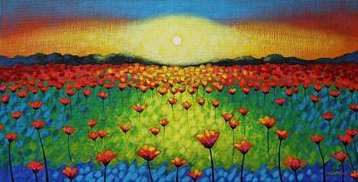 Perspective Painting - Twilight Poppies by John  Nolan