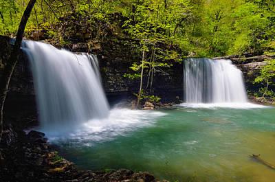 Richland Creek Photograph - Twin Devil Falls by Kurt Jones