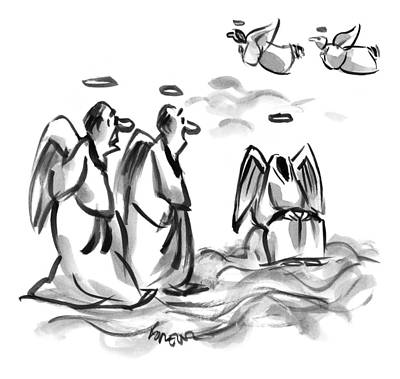 Angel Drawing - Two Angels Discuss A Third Headless Angel by Lee Lorenz