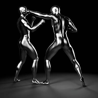 Two Boxers Fighting Art Print by Sebastian Kaulitzki