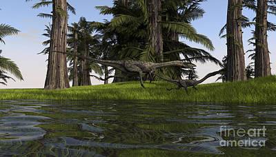 Coelophysis Digital Art - Two Coelophysis Dinosaurs Running by Kostyantyn Ivanyshen