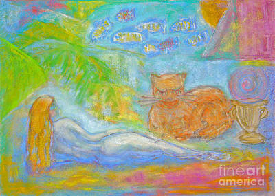 Pastel - Two Felines by Barbara Anna Knauf