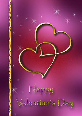 Digital Art - Two Hearts Valentine's Day by Jeanette K