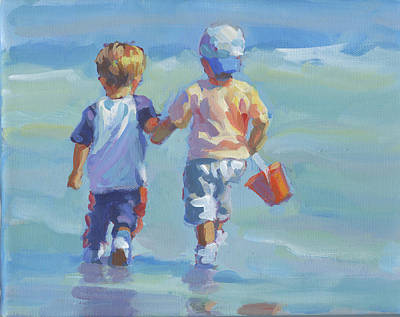 Two Little Boys Painting - Two Little Beach Boys by Lucelle Raad