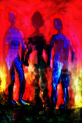 Mental Painting - Two Real Men And A Shadow Woman Between Them  by Hilde Widerberg
