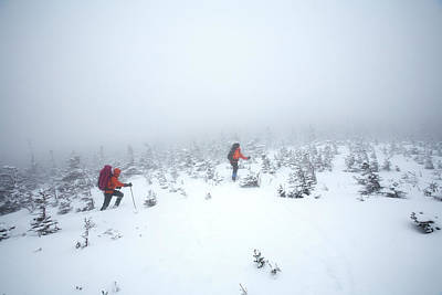 Technical Photograph - Two Men Hiking In The Snow On Mt by Jose Azel