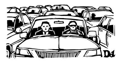 Two Men In A Car Are Stuck In Traffic Art Print
