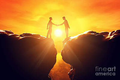 Connect Photograph - Two Men Shake Hands Over Precipice by Michal Bednarek