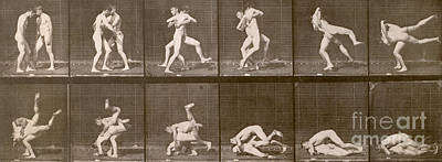 Nude Photograph - Two Men Wrestling by Eadweard Muybridge