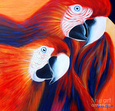Painting - Two Parrots. Inspirations Collection. by Oksana Semenchenko