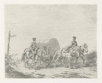 Two Soldiers On Horseback On The Road, Print Maker Art Print