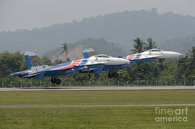 Sukhoi Photograph - Two Sukhoi Su-27 Flanker Of The Russian by Remo Guidi