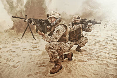 Photograph - Two U.s. Marines Aim At Different by Oleg Zabielin