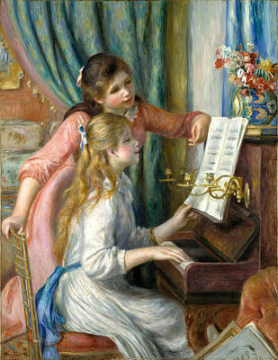 Two Young Girls At The Piano Renoir Painting - Two Young Girls At The Piano by Pierre-Auguste Renoir