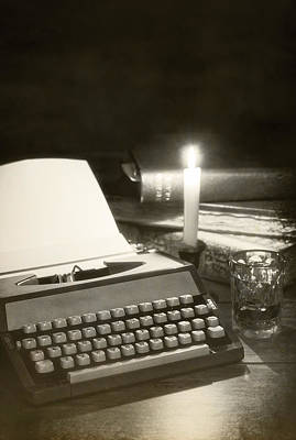 Antique Roses Vase Wall Art - Photograph - Typewriter By Candlelight by Amanda Elwell