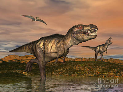 Triassic Digital Art - Tyrannosaurus Rex Dinosaurs by Elena Duvernay