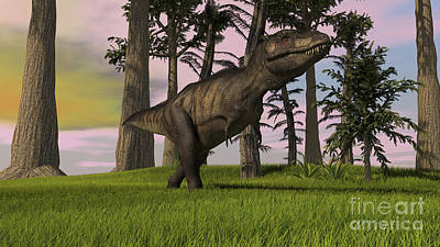 Digital Art - Tyrannosaurus Rex Hunting In Grasslands by Kostyantyn Ivanyshen