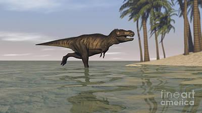 Tyrannosaurus Rex Digital Art - Tyrannosaurus Rex Hunting In Shallow by Kostyantyn Ivanyshen
