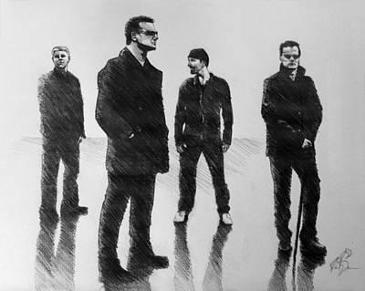 Bono Drawing - U2 by Adam Barone