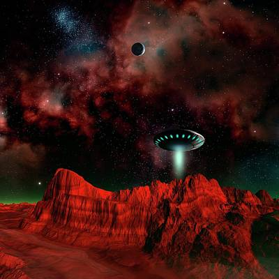 Ufo Over An Alien Planet Art Print by Mehau Kulyk/science Photo Library
