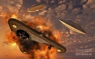 Ufos From Different Alien Races Art Print by Stocktrek Images