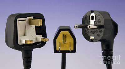 Fused Photograph - Uk, Us And European Mains Plugs by Sheila Terry