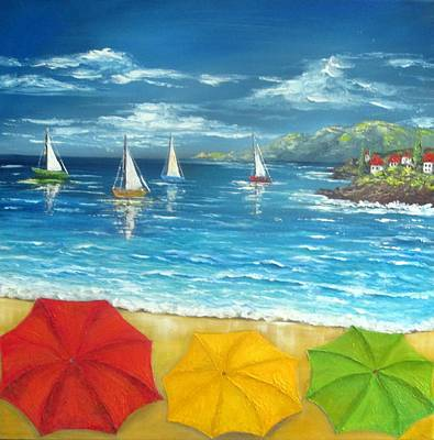 Painting - Umbrella Beach by Katia Aho