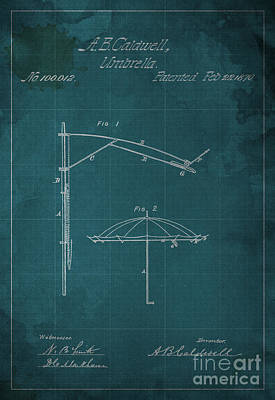 Umbrellas Mixed Media - Umbrella Patent - A.b. Caldwell by Pablo Franchi