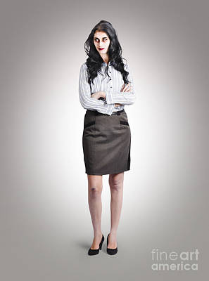 Full Skirt Photograph - Undead Boss With Arms Folded On Grey Background by Jorgo Photography - Wall Art Gallery