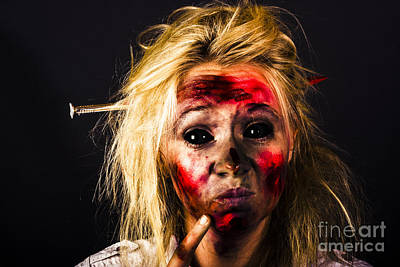 Monster Photograph - Undead Zombie Looking To Dark Copy Space by Jorgo Photography - Wall Art Gallery
