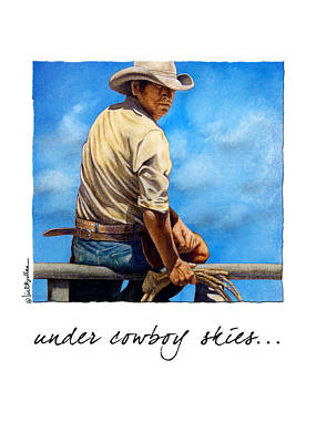Contemporary Cowboy Painting - Under Cowboy Skies... by Will Bullas