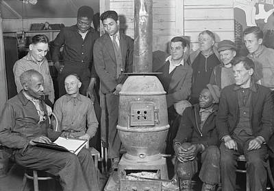 Old Wood Burning Stove Photograph - Unemployed Men Attending Meeting by Stocktrek Images