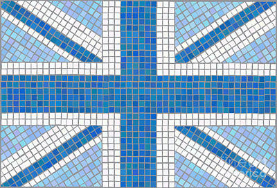 Mosaic Digital Art - Union Jack Blue by Jane Rix