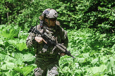Photograph - United States Army Ranger In The Forest by Oleg Zabielin