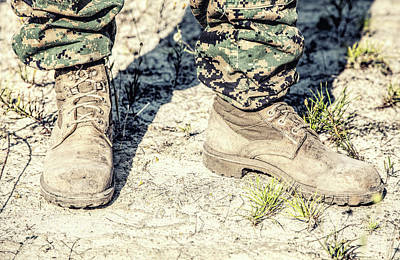 Photograph - United States Marine Corps Combat Boots by Oleg Zabielin