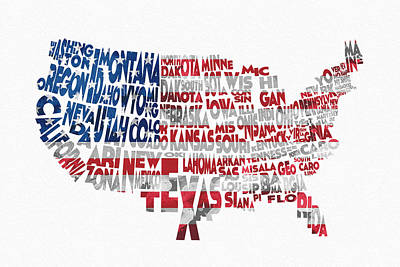 United States Typographic Map Flag Print by Ayse Deniz
