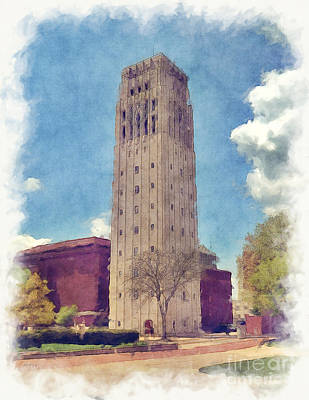 University Of Michigan Mixed Media - University Of Michigan Clock Tower 2 by Phil Perkins