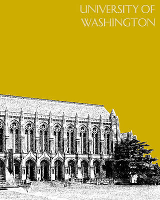 Alumni Gift Digital Art - University Of Washington - Suzzallo Library - Gold by DB Artist
