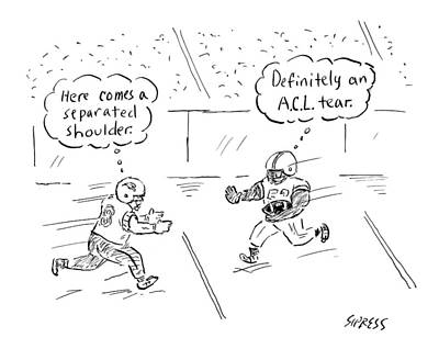 Football Drawing - New Yorker December 5th, 2016 by David Sipress