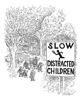 Traffic Signs Drawing - New Yorker October 17th, 2016 by Edward Koren