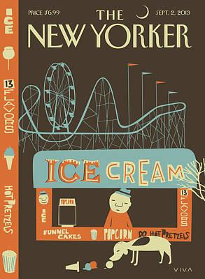 Amusement Park Painting - New Yorker September 2nd, 2013 by Frank Viva