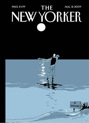 Water Painting - New Yorker August 31st, 2009 by Istvan Banyai