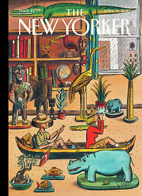 Canoe Painting - New Yorker April 19th, 2010 by Jacques de Loustal