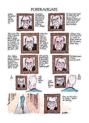 Nixon Drawing - New Yorker March 13th, 2000 by Jules Feiffer