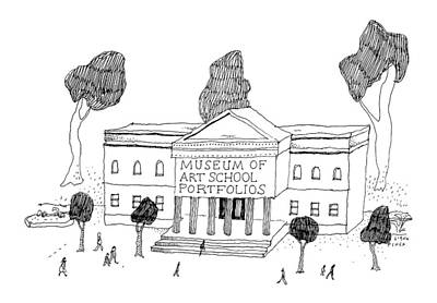 Museums Drawing - New Yorker September 5th, 2016 by Liana Finck