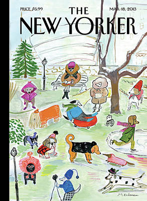Winter Painting - New Yorker March 18th, 2013 by Maira Kalman