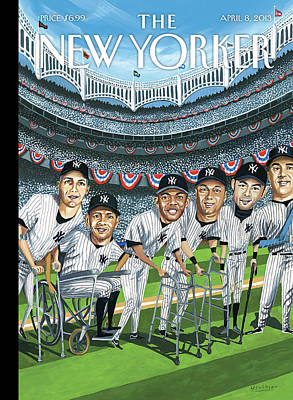 Baseball Painting - New Yorker April 8th, 2013 by Mark Ulriksen